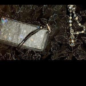 Handbags - Black Rhinestone Wallet Wristlet New